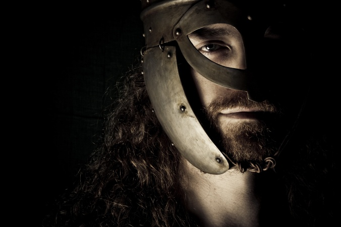 Viking with a steel helmet