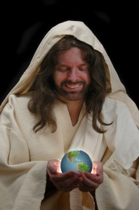 portrait of jesus holding the world